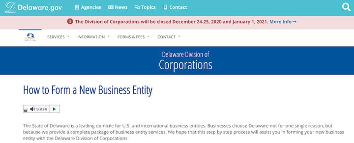 Delaware website