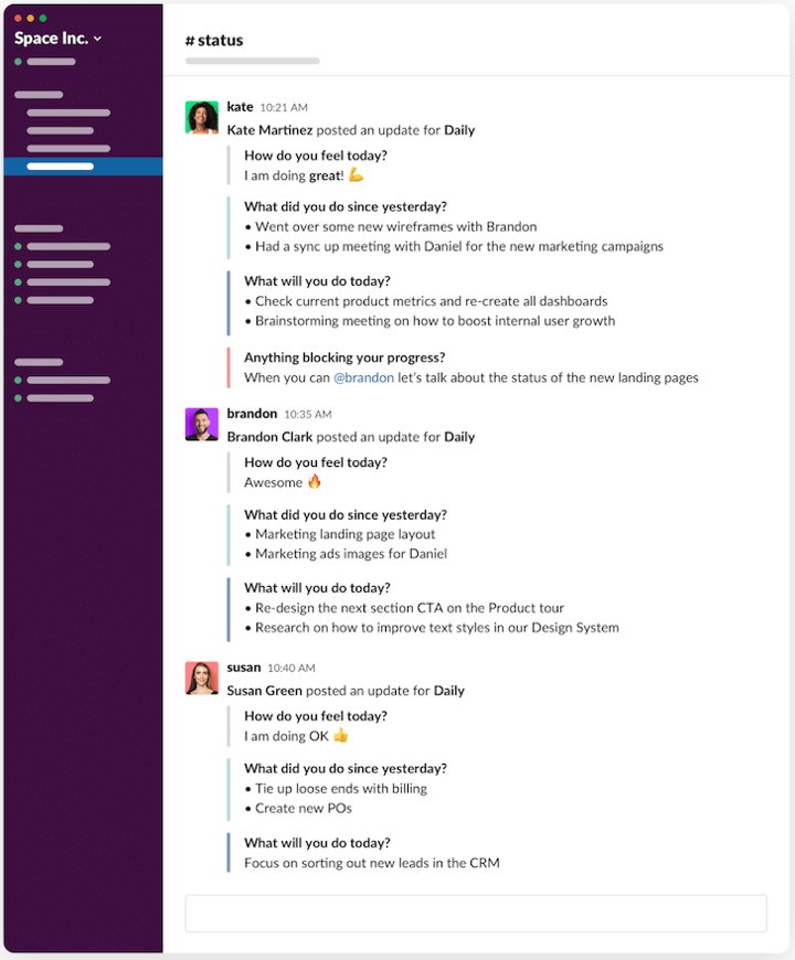 slackbot example for managing remote employees