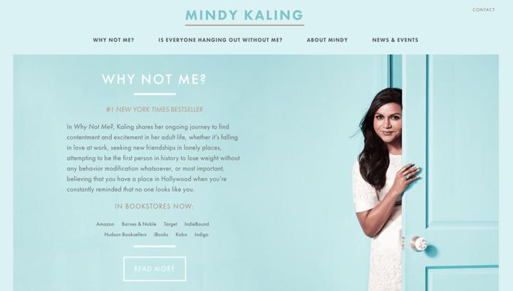 Mindy Kaling website screenshot