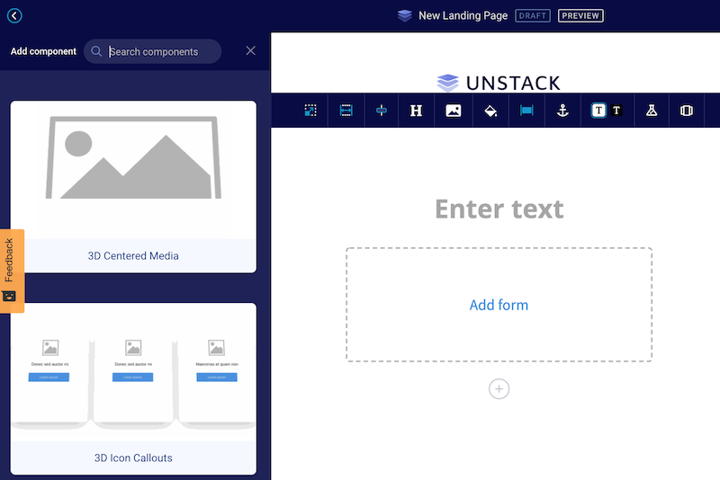 landing page component editor