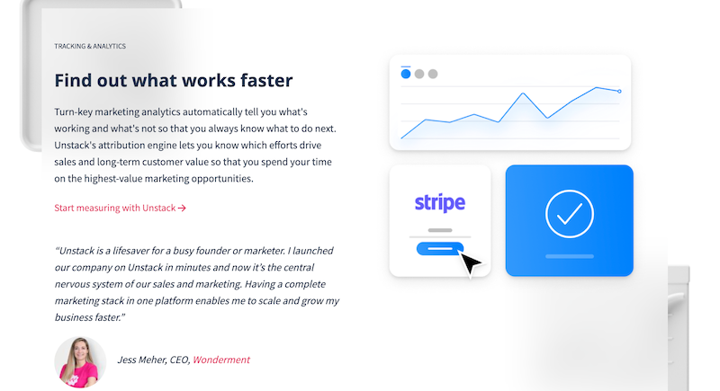 new Unstack homepage with media and quote component