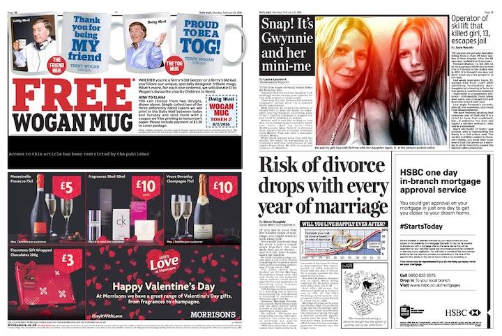 offline branding example newspaper with ads