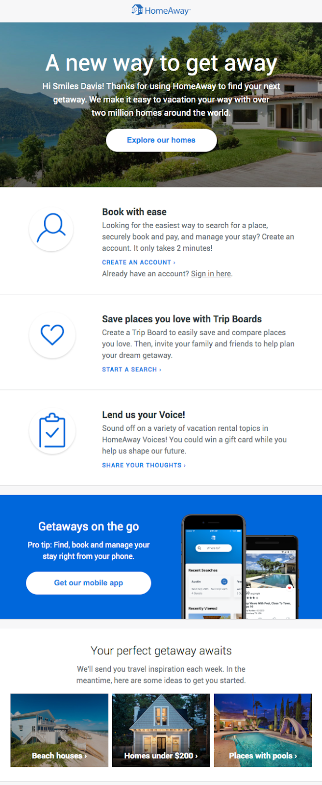 onboarding email example from Home Away