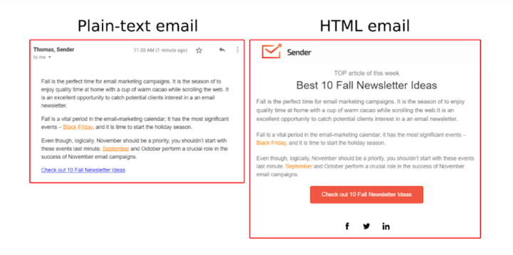 plain text vs html onboarding email
