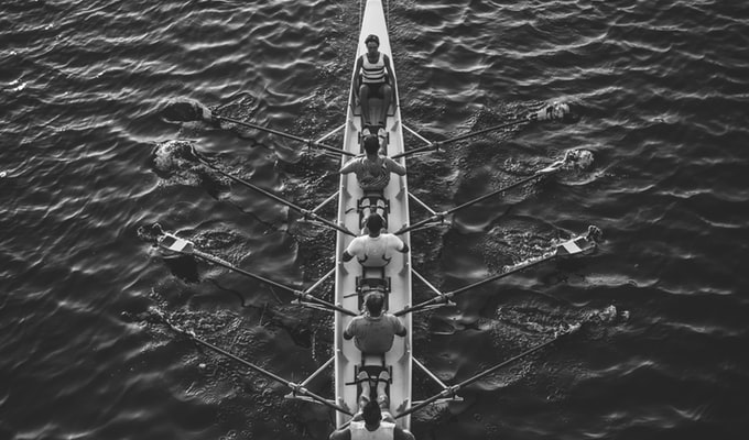 rowing in sync