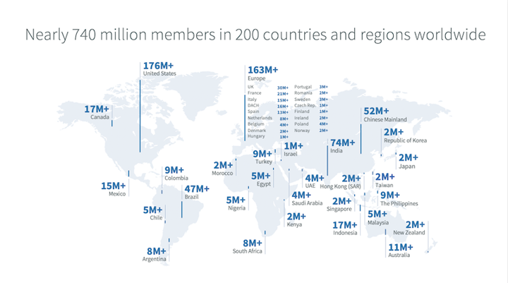 map of LinkedIn users