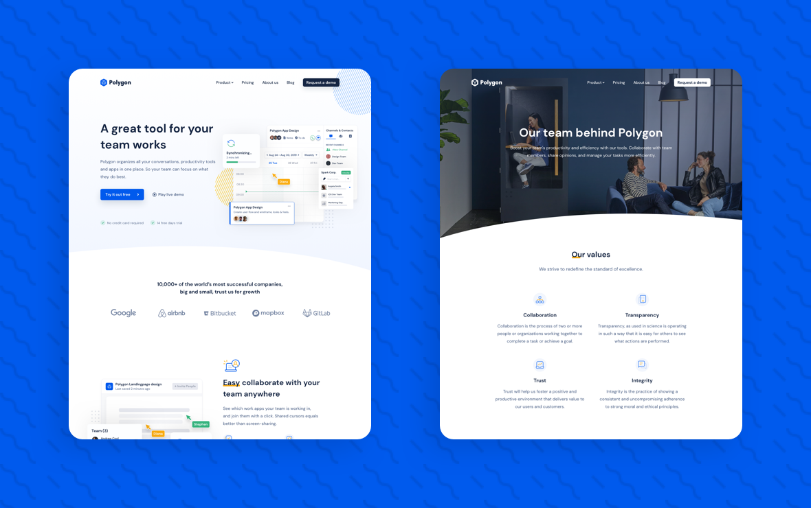 Polygon SaaS theme by Unstack