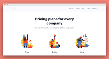 simple pricing landing page template