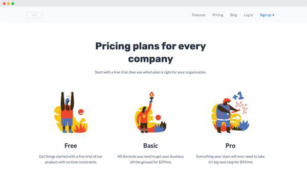 SaaS pricing landing page