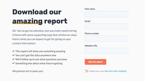 Report download landing page