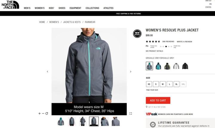 jacket product page with reviews
