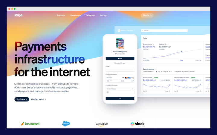 Stripe website -  perfect blend of design and function