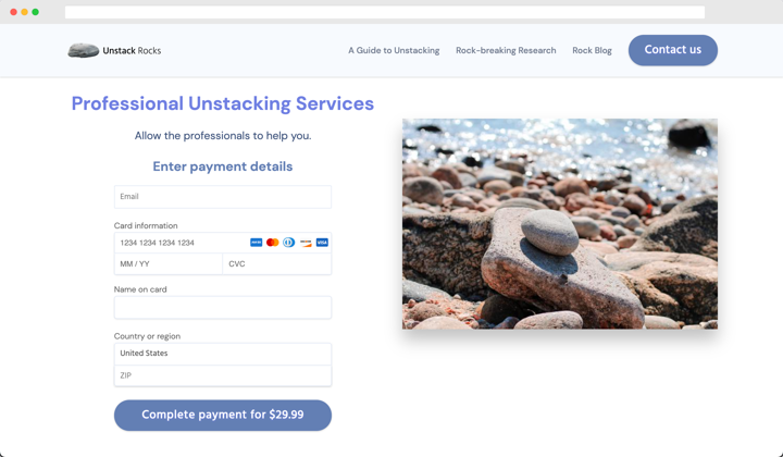 Unstack payment view
