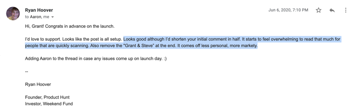 Email with Ryan Hoover