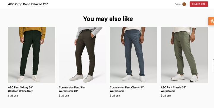 """""""you might also like"""" section on Lululemon"""