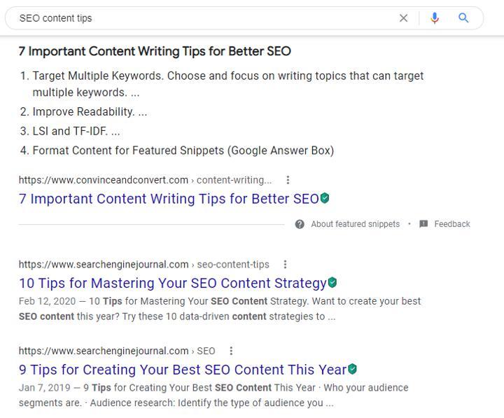"""""""seo content"""" Google SERP"""