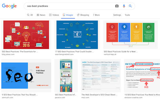 "Google Image search for ""SEO best practices"""