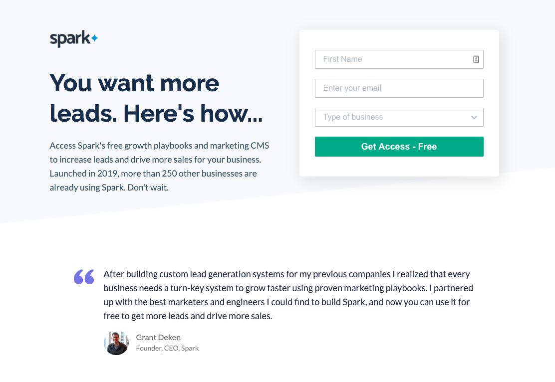 Unstack Landing Pages