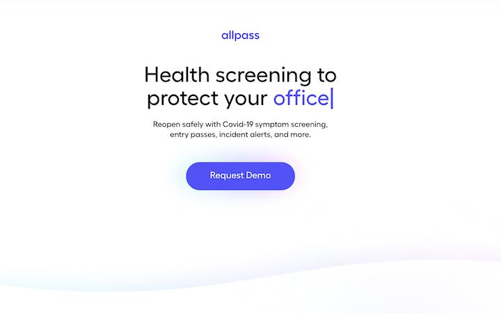 allpass startup landing page