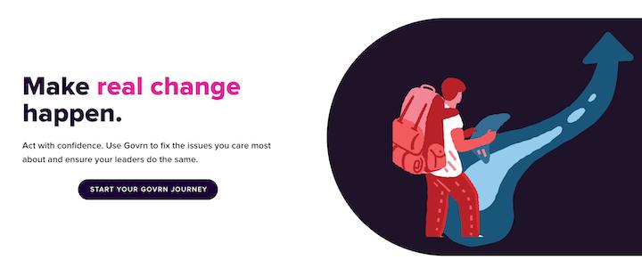 govrn startup landing page