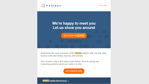 SaaS welcome email