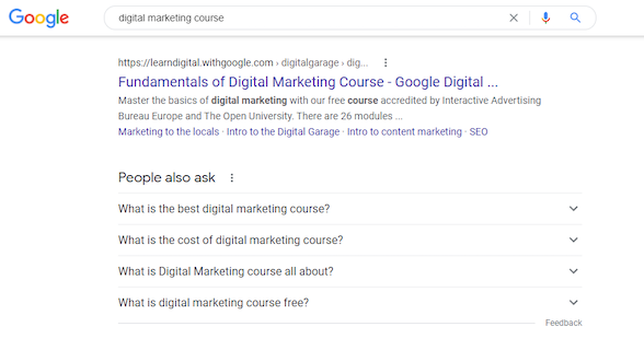 """serp for """"digital marketing courses"""" search query"""
