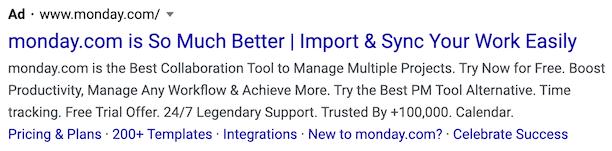 Google Ads example monday.com
