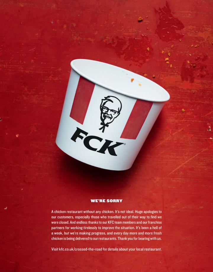 creative copywriting example from KFC