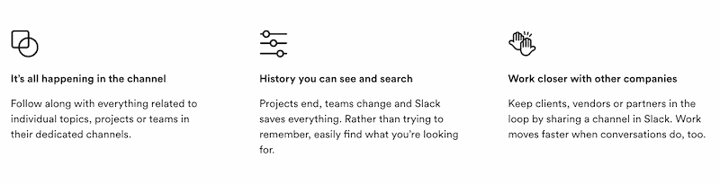 product copywriting example from Slack