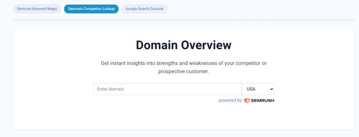 Unstack Semrush domain overview tool