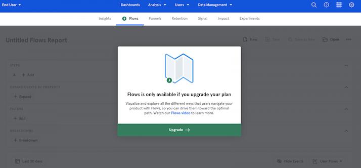 """Mix Panel product """"flow"""" screenshot"""