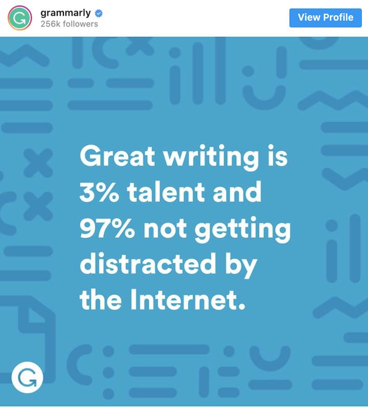 Grammarly social media post
