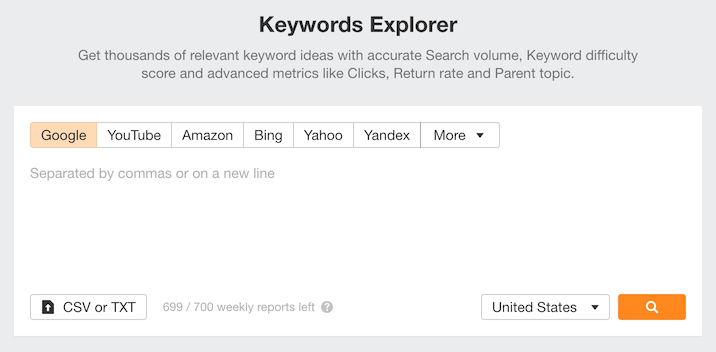 Ahrefs keyword research view