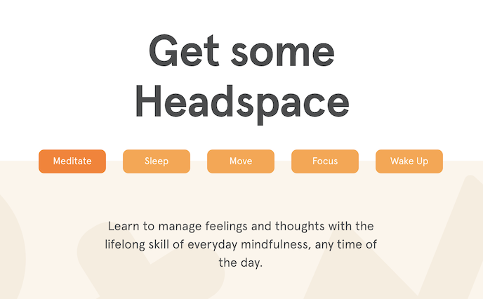 ux copywriting example from Headspace