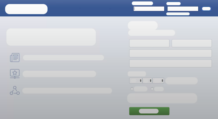 Facebook log in screen without ux copywriting