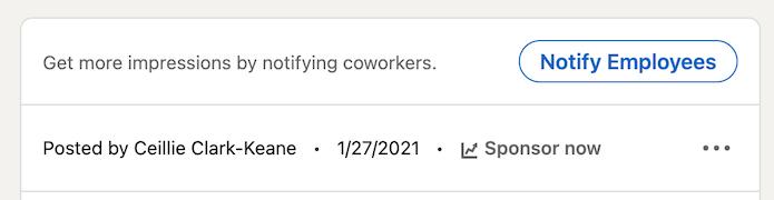 "LinkedIn ""notify employees"" option"