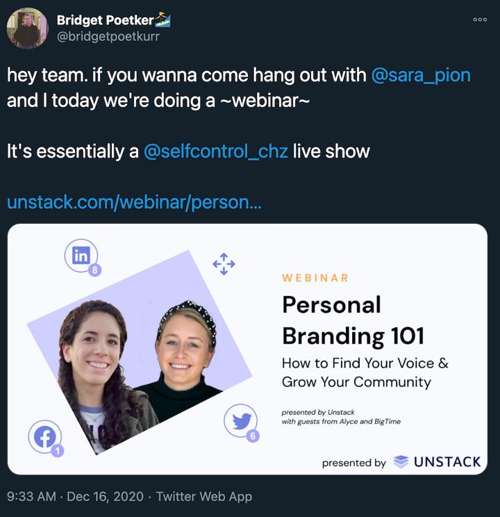 webinar promotional tweet