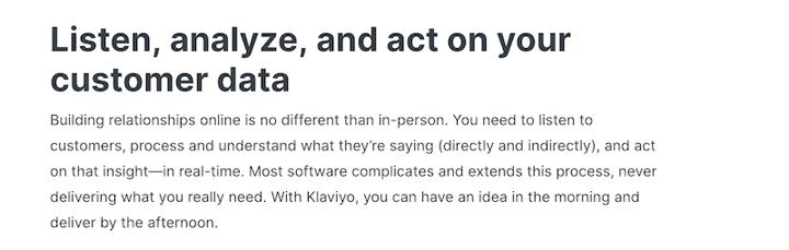 website copywriting example from Klaviyo
