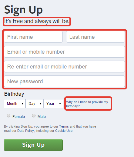 microcopy example on a lead form