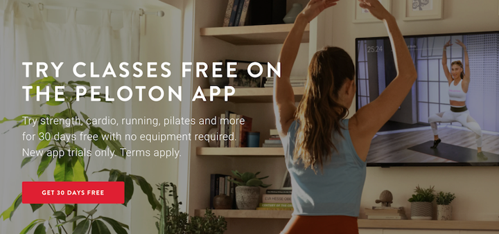 website copywriting example from peloton