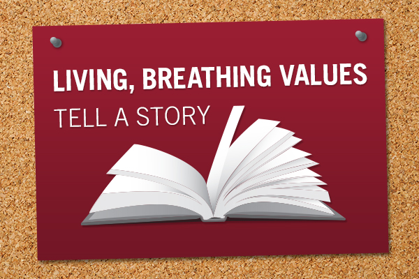 """""""living, breathing values tell a story"""" graphic"""